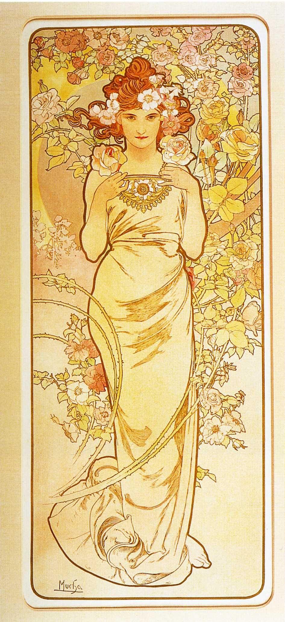 Alfons Mucha. Flowers: Rose