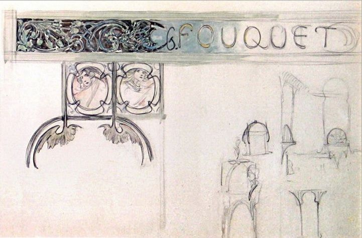 Alfons Mucha. Jewelry house of Georges Fouquet. Sketch of signs and decorative interior parts