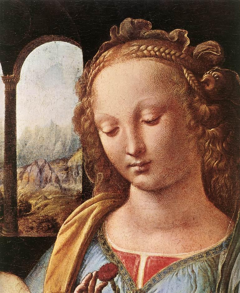 Леонардо да Винчи. Мадонна с гвоздикой (фрагмент)