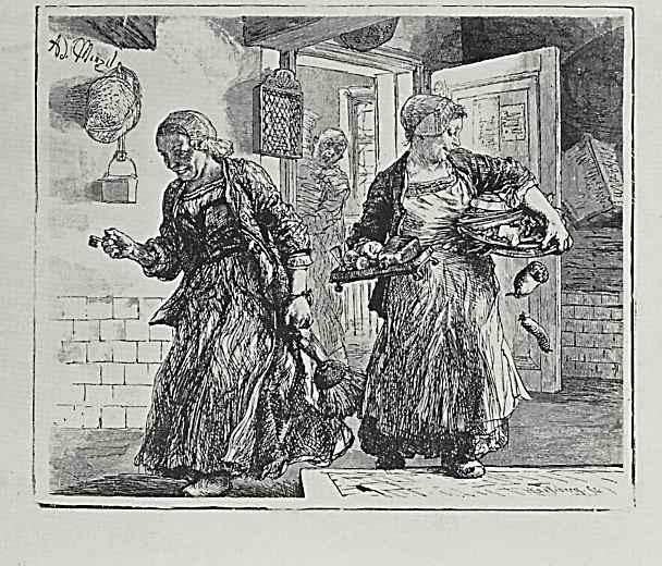 """Адольф фон Менцель. Иллюстрация к """"Разбитому кувшину"""" Генриха фон Кляйста, Две смеющиеся служанки"""