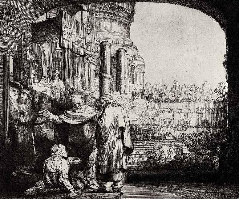 Рембрандт Ван Рейн. Пётр и Иоанн у врат храма