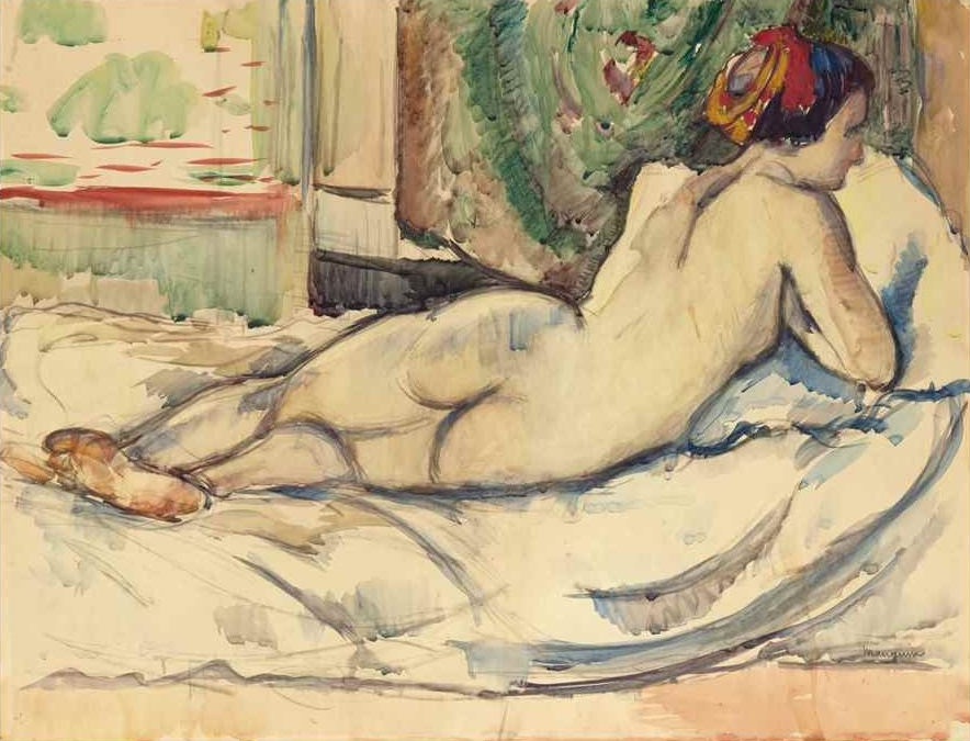 Henri Manguin. Nude Jeanne in a red turban (water color)
