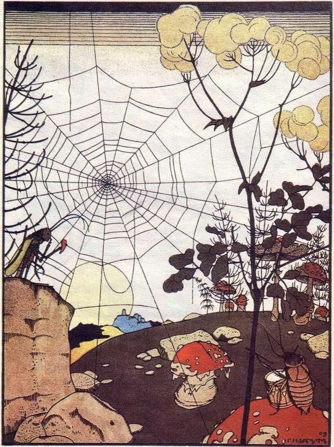 "Георгий Иванович Нарбут. Illustration for the fairy tale ""Teremok"". Spider"