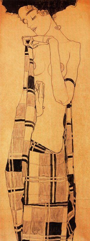 Egon Schiele. Gerti Schiele in a plaid garment