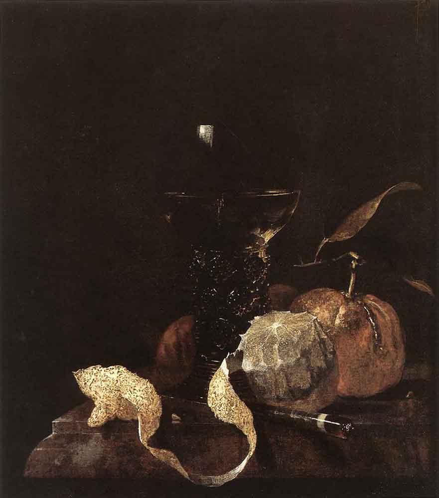 Виллем Кальф. Натюрморт с лимоном, апельсином и бокалом вина