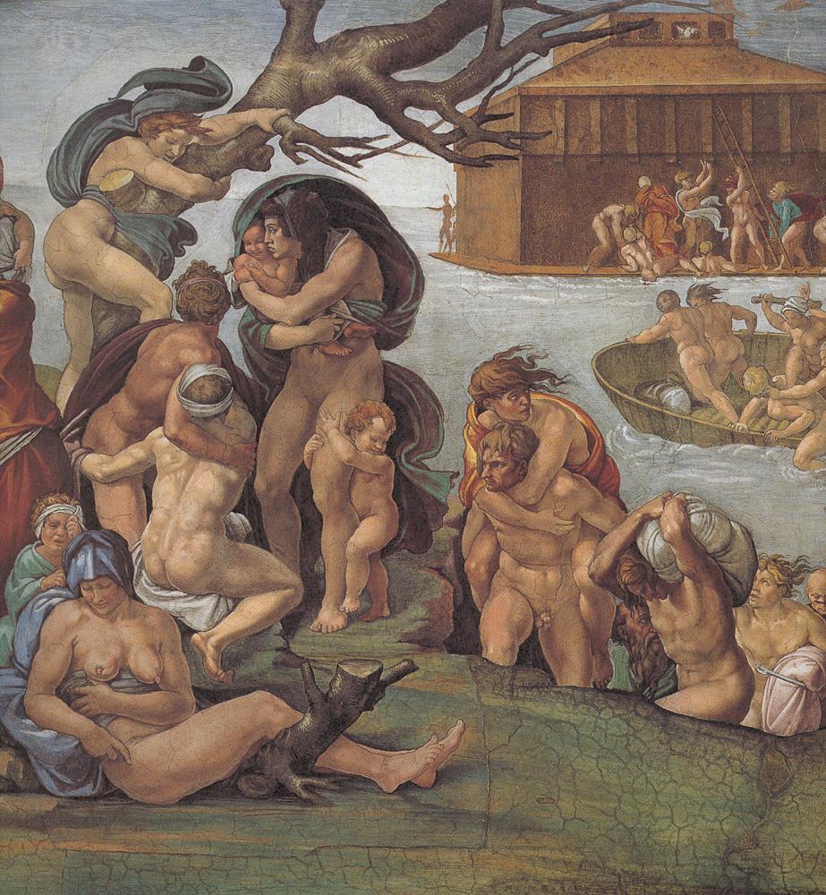 Микеланджело Буонарроти. Потолок Сикстинской капеллы. Бытие. История Ноя. Потоп. Вид слева.
