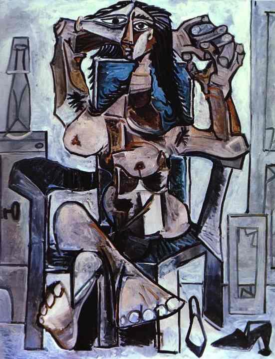 """Пабло Пикассо. Обнаженная в кресле с бутылкой """"Эвиан"""", стаканом и туфлями"""