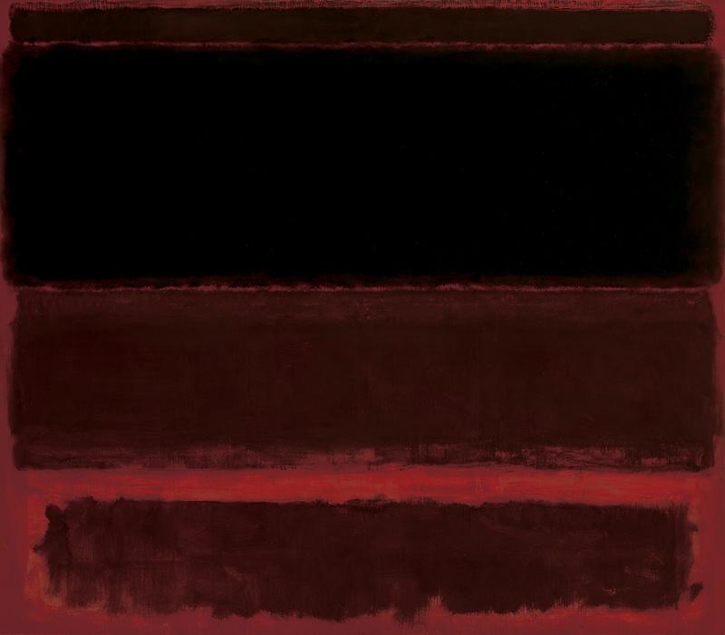 Rothko Mark. Four dark markings on the red