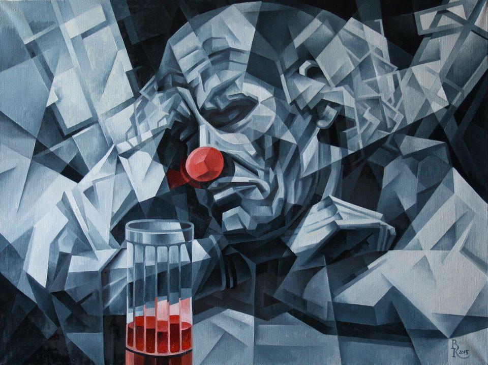 Vasily Krotkov. The old clown. Kubofuturizm
