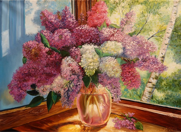 Evgeny Vladimirovich Terentyev. Lilac on the windowsill