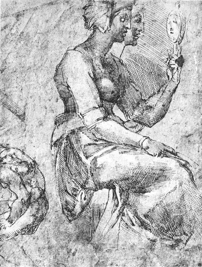 Микеланджело Буонарроти. Изучение сидящей женщины