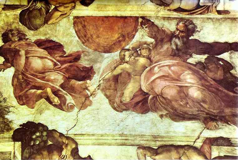 Микеланджело Буонарроти. Потолок Сикстинской капеллы: Создание Солнца и Луны