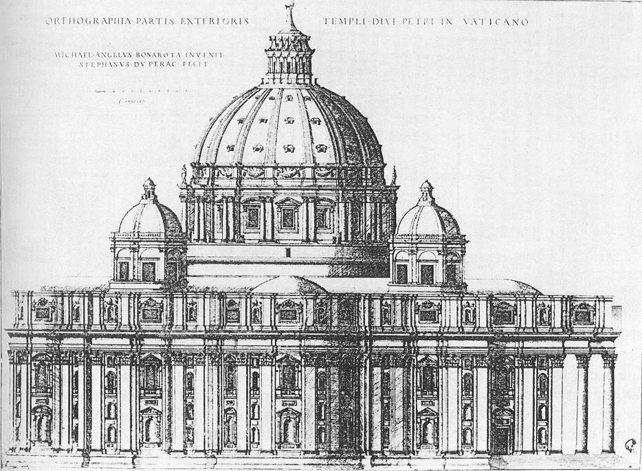 Микеланджело Буонарроти. Собор Св. Петра. Купол. Набросок.