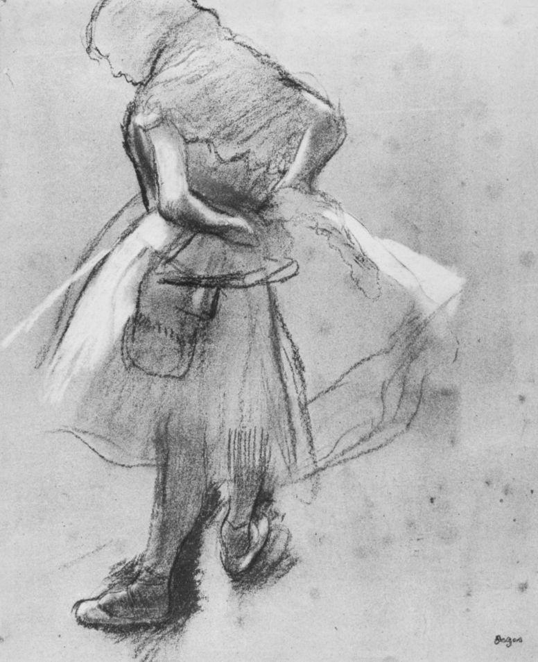 Эдгар Дега. Балерина, завязывающая пояс