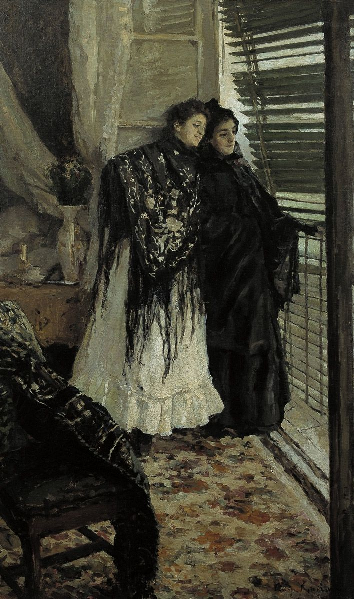 Konstantin Korovin. Out on the balcony. Spanish women Leonora and Ampara
