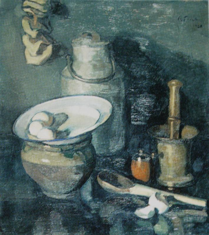 Осип Эммануилович (Иосиф) Браз. Натюрморт с медной ступкой. 1920