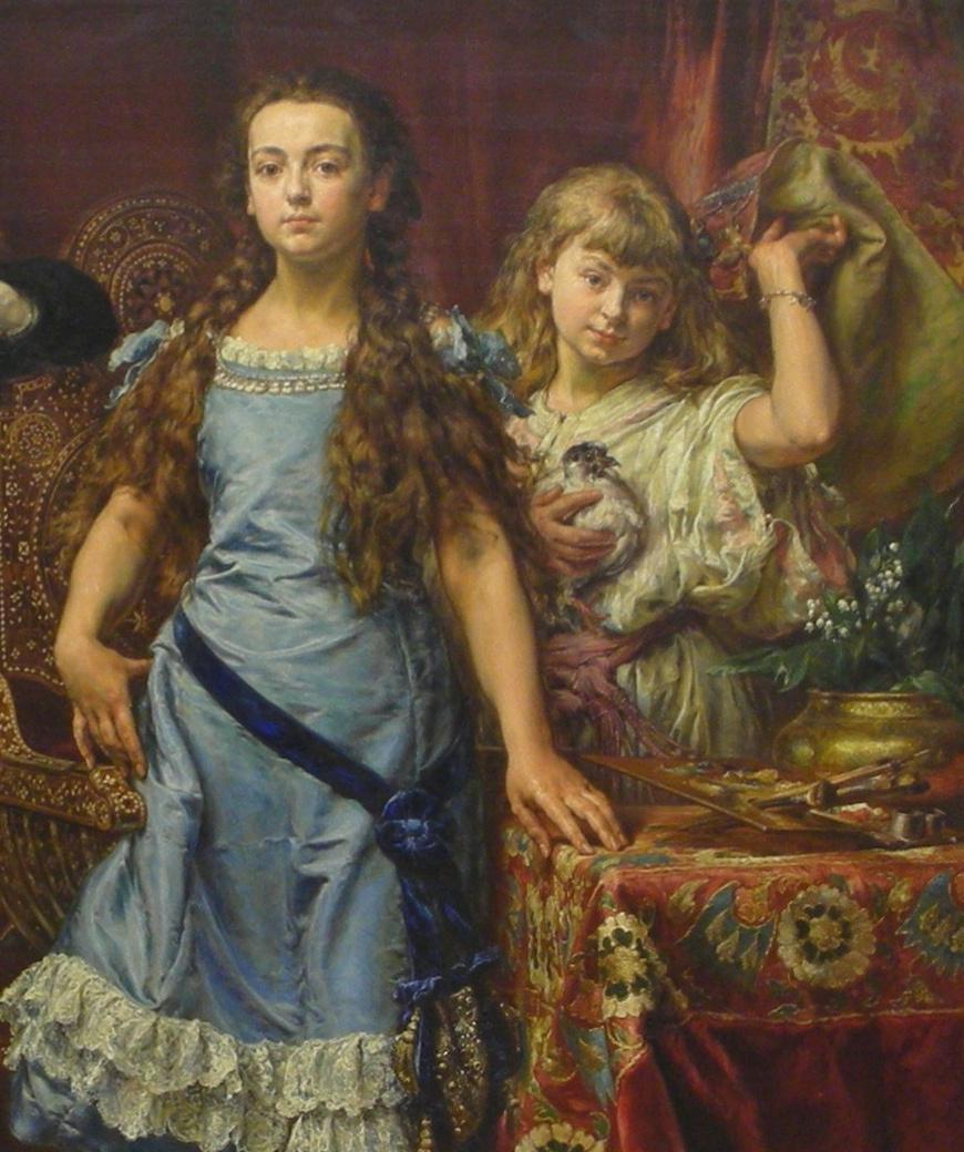 Ян Матейко. Портрет четырех детей художника. Фрагмент