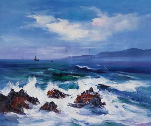 Daniel Wenger. In the blue sea, in the white foam ...