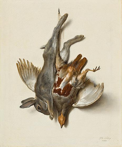 Жан-Батист Удри. Молодой кролик и куропатка, висящие за лапы