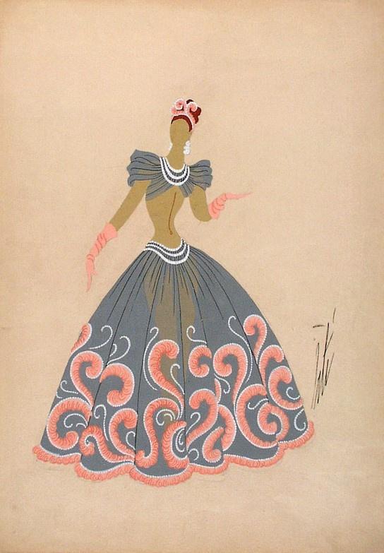 Роман Петрович Тыртов (Эрте). Дизайн серого платья с оранжевыми перьями