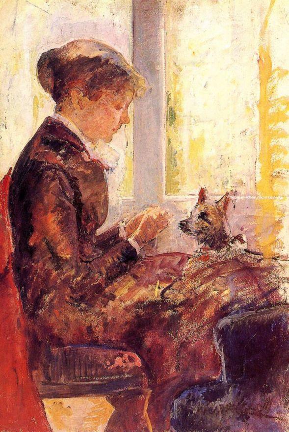 Мэри Кассат. Женщина у окна кормит собаку