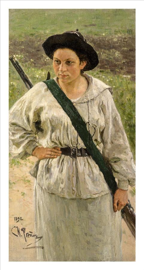 Ilya Efimovich Repin. Portrait of Nadezhda Ilyinichna Repina in a hunting suit.