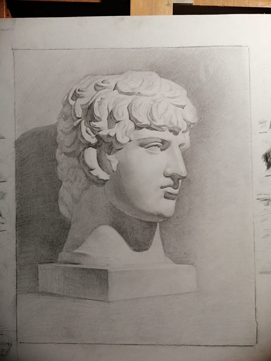 Andrey Evgenievich Levkovsky. Plaster of Paris head of Antinous