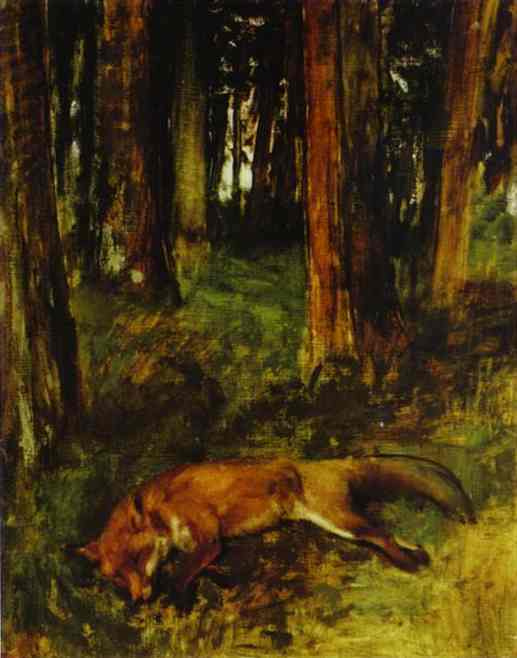 Эдгар Дега. Мертвый лис лежит в подлеске