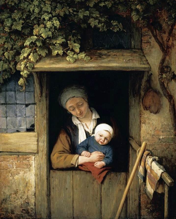 Adrian Jans van Ostade. A mother and child in the doorway