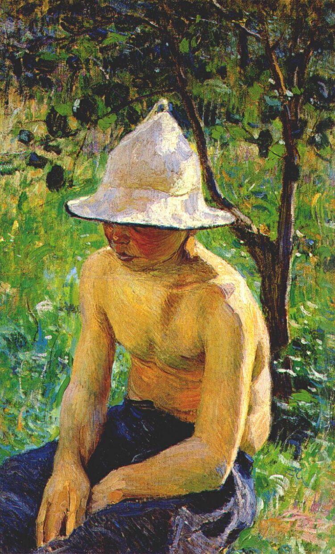 Виктор Эльпидифорович Борисов-Мусатов. Мальчик в шляпе (Обнаженный мальчик в саду)