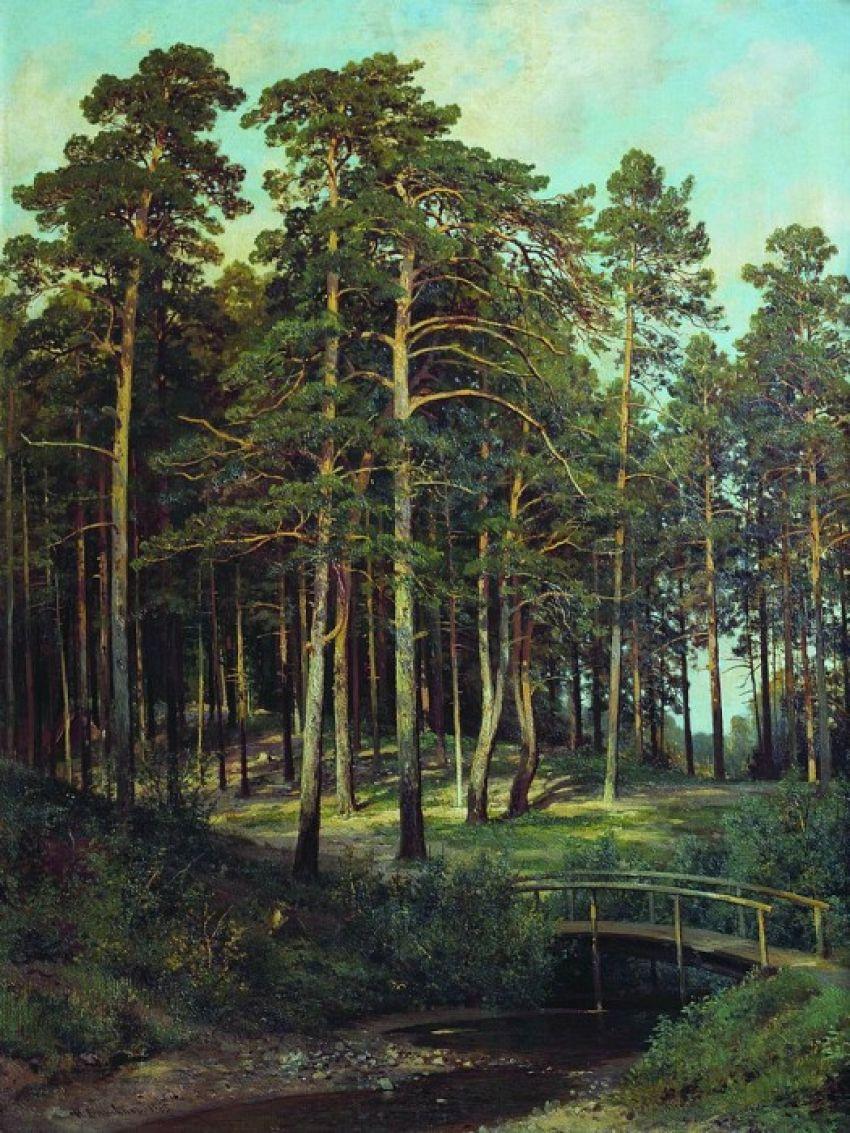Ivan Shishkin. Bridge in the woods