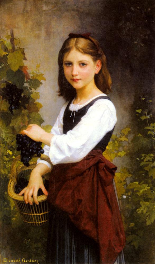 Elizabeth Gardner Bugro. Girl with basket of grapes