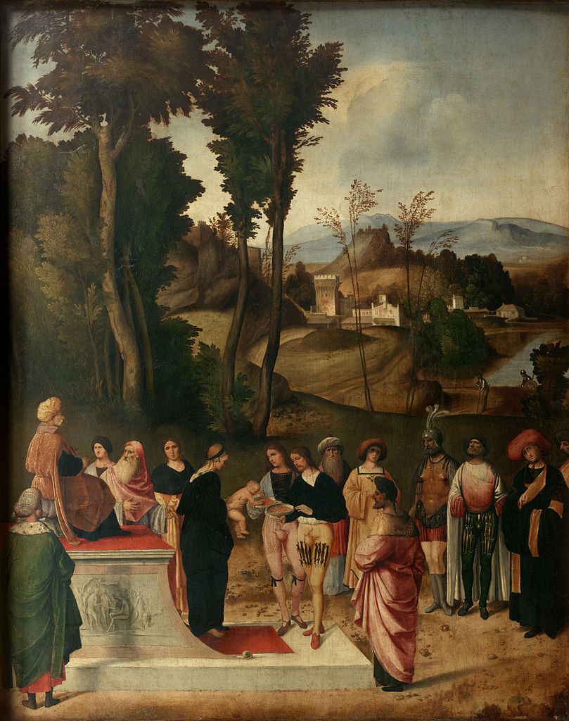 Giorgione. Test of Moses by fire