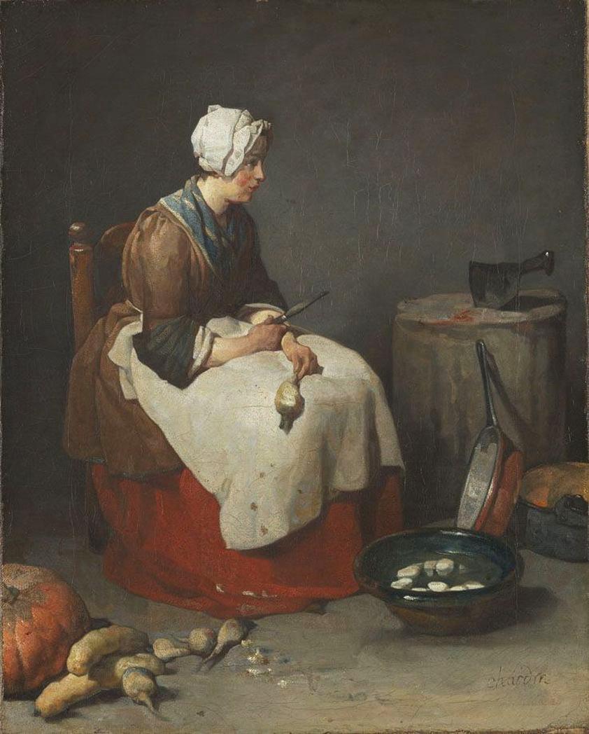 Jean Baptiste Simeon Chardin. Cook, cleaning turnips