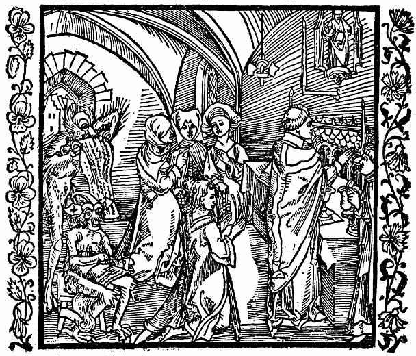 Альбрехт Дюрер. Дьявол записывыает на пергаменте разговоры людей во время мессы
