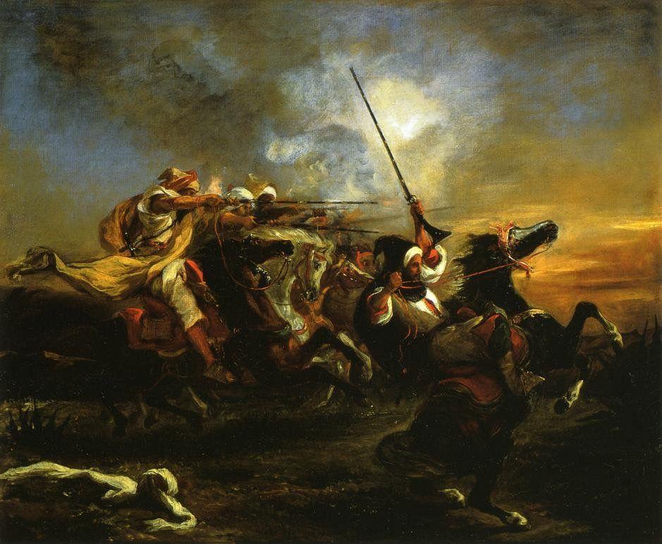 Eugene Delacroix. Moroccan horsemen in military action 1832