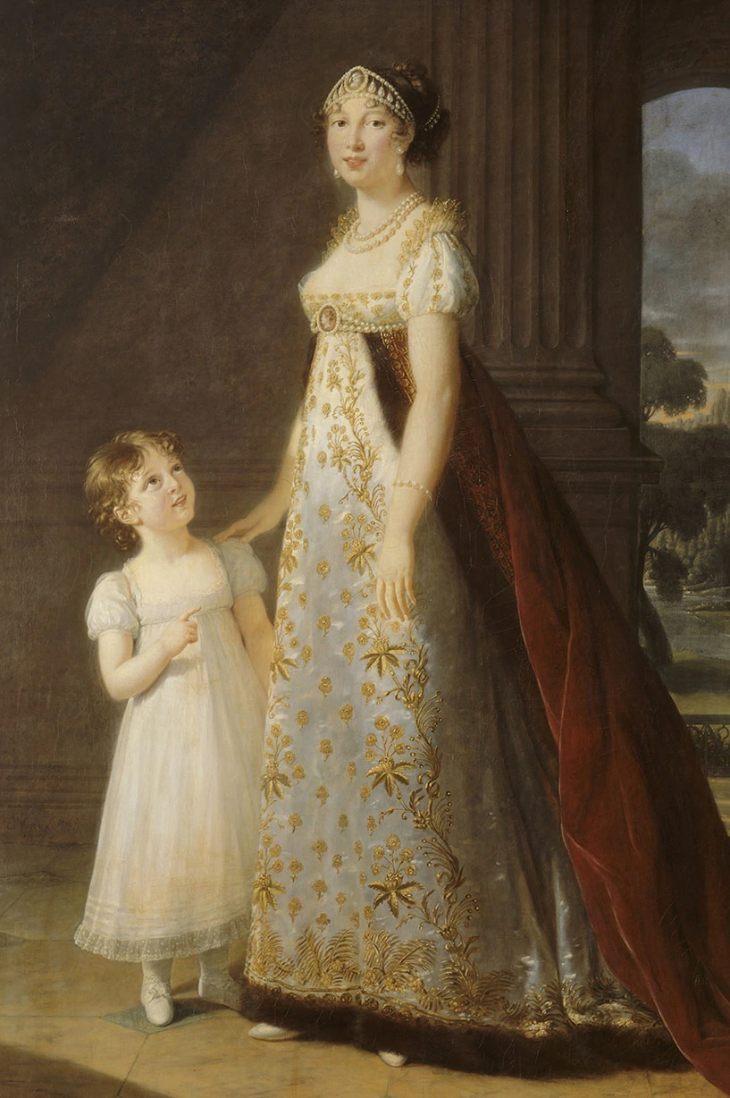 Elizabeth Vigee Le Brun. Maria-Annusiada-Carolina Bonaparte, Queen of Naples, with her daughter Letizia-Josephine Murat