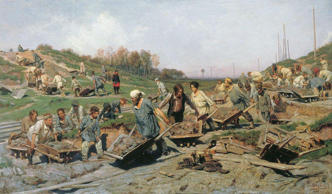 Константин Аполлонович Савицкий. Ремонтные работы на железной дороге