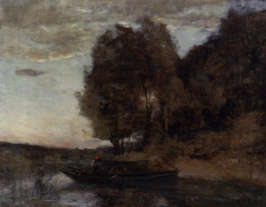 Камиль Коро. Рыбак и лесной пейзаж