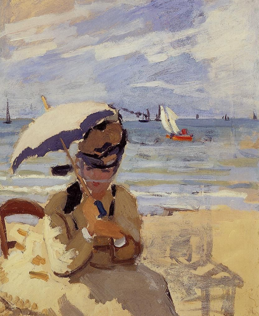 Claude Monet. Camille sits on the coast of Trouville