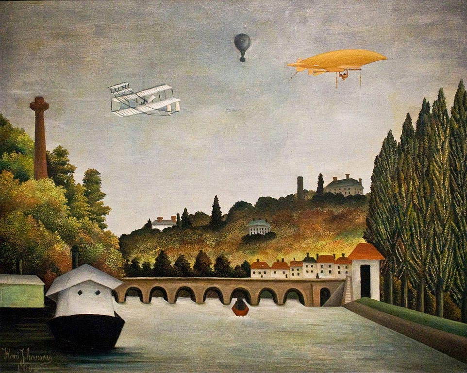 Анри Руссо. Вид моста Севр и холмов Кламара, Сен-Клу и Бельвю, с бипланом, воздушным шаром и дирижаблем