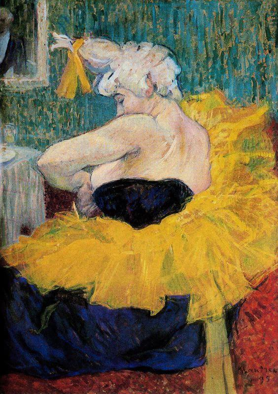 Henri de Toulouse-Lautrec. The clown Cha-u-Kao fastening her bodice