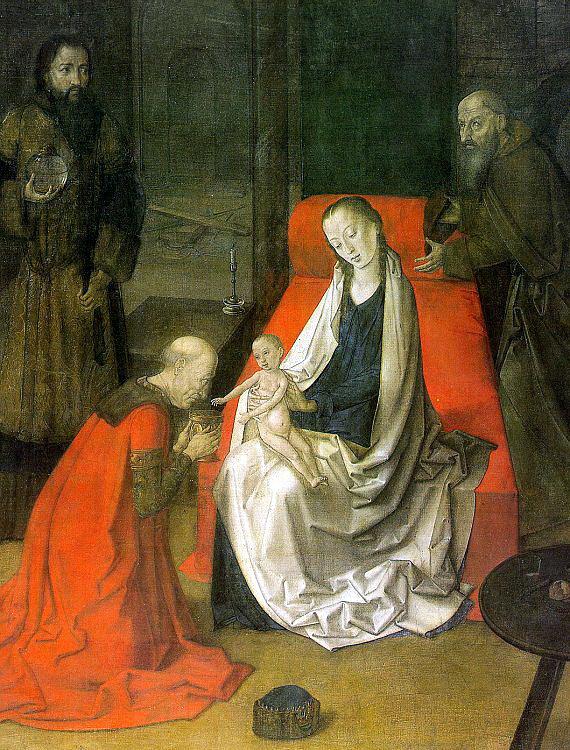 Джоос ван Гент. Поклонение младенцу
