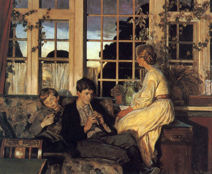 Viggo Pederson. Mother and children by a window at dusk