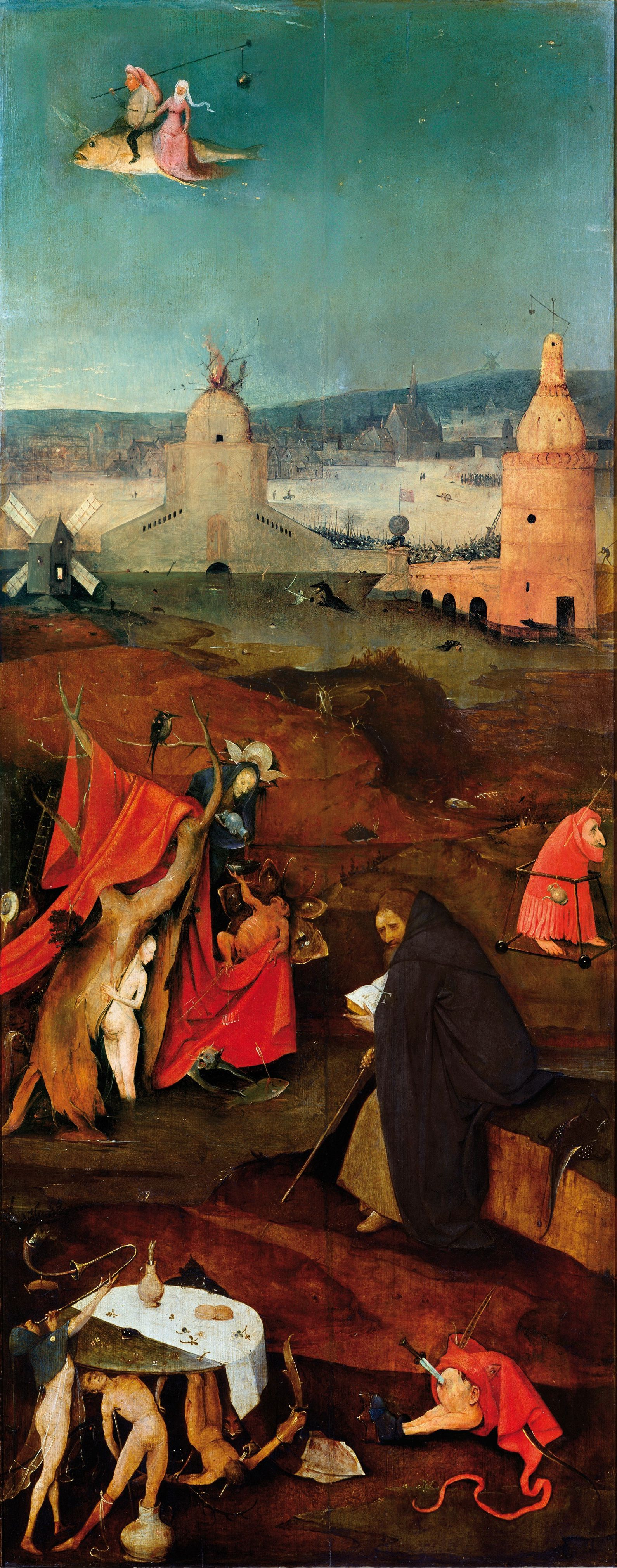 Hieronymus Bosch. The Temptation Of St. Anthony. Right wing of a triptych.