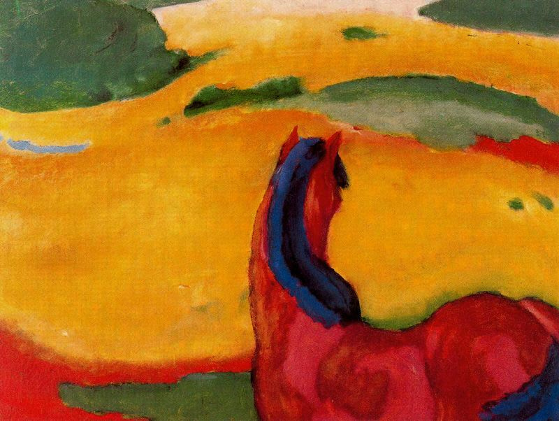 Franz Mark. Landscape with a horse