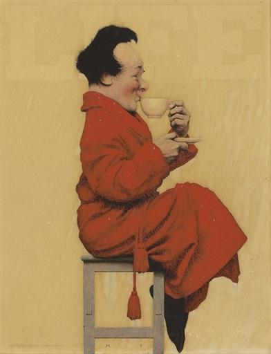 "Максфилд Пэрриш. Мужчина на табуретке с чашкой чая. Рисунок для журнала ""Лайф"""