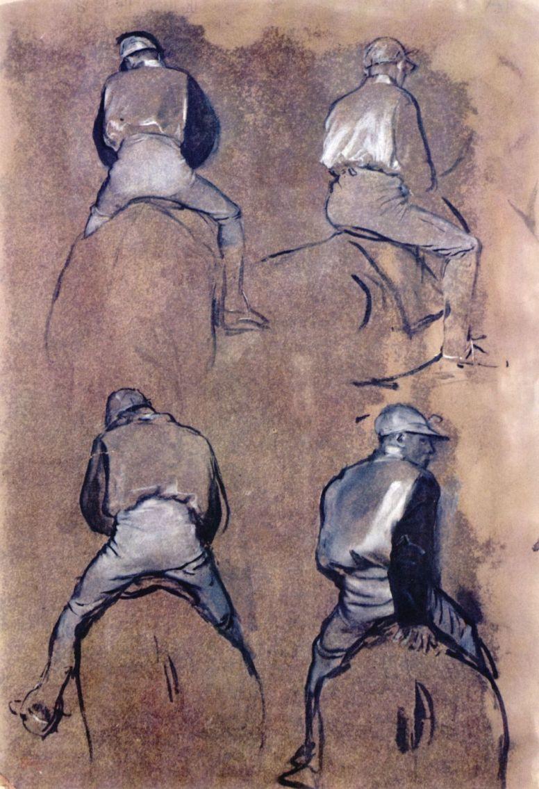 Edgar Degas. Four studies of a jockey