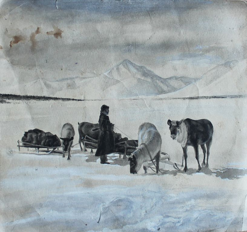 Unknown artist. Перевал через Верхоянский хребет. Караван экспедиции С. Обручева