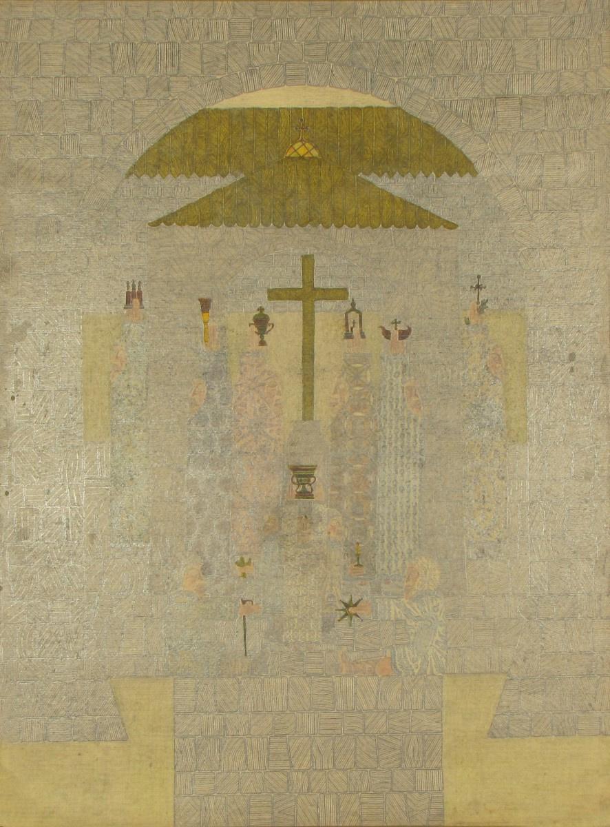 Vasily Tikhonovich Romanenkov. Monastic life. The left side of the triptych. Holy well